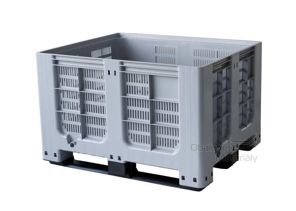 Plastový bigbox děrovaný 1200*1000*785 mm, 3 ližiny