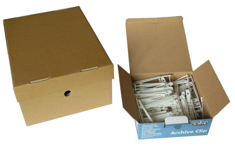 Archivační krabice s víkem 327*250*150 - 20ks, archivační spony - 50ks
