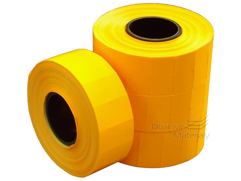 Cenové etikety REFLEXNÍ ORANŽOVÉ pro jednořádkové kleště 8 míst 22*12 mm