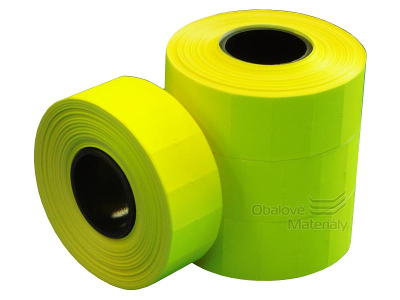 Cenové etikety REFLEXNÍ ŽLUTÉ pro jednořádkové kleště 8 míst 22*12 mm