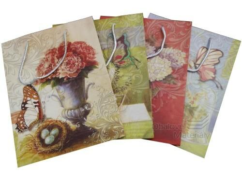 Dárková taška 31*26*12 cm, 4 barevné malované motivy