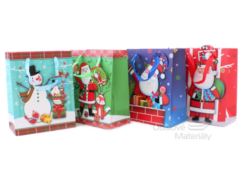Dárková taška vánoční 23*18*10 cm, různé motivy