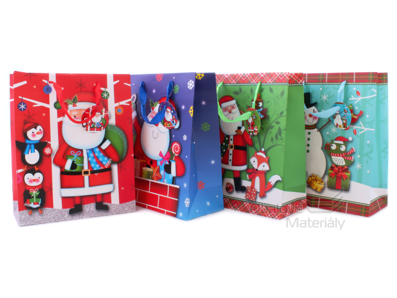 Dárková taška vánoční 32*26*10 cm, různé motivy