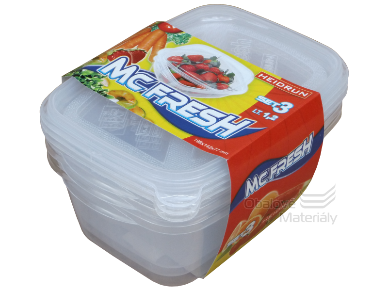 Dóza na potraviny MC FRESH SET 3 ks, 1,2 l, 200*145*80 mm
