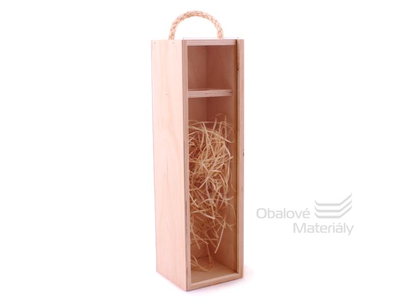 Dřevěný box na víno se skleněným okénkem, na 1 láhev, 350*95*95 mm