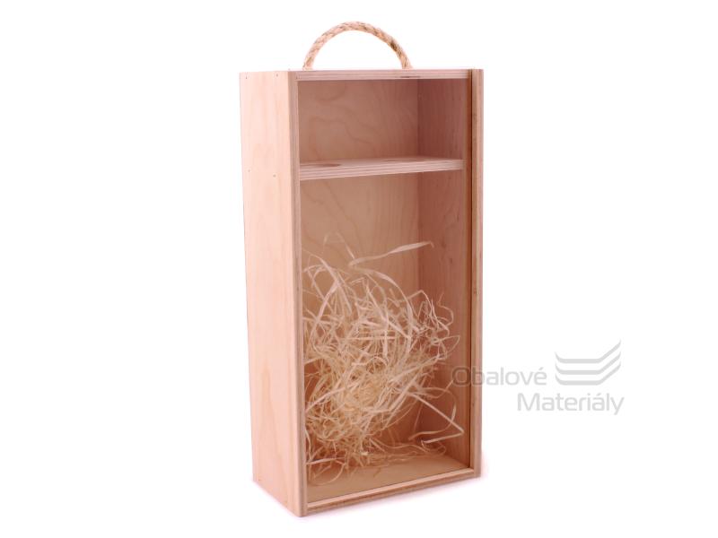 Dřevěný box na víno se skleněným okénkem, na 2 láhve, 350*175*95 mm