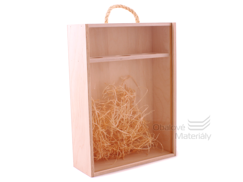 Dřevěný box na víno se skleněným okénkem, na 3 láhve, 350*255*95 mm