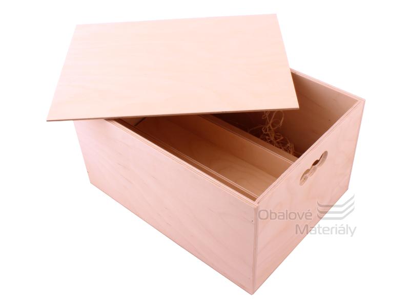 Dřevěná krabice na víno, na 6 lahví, 190*350*260 mm