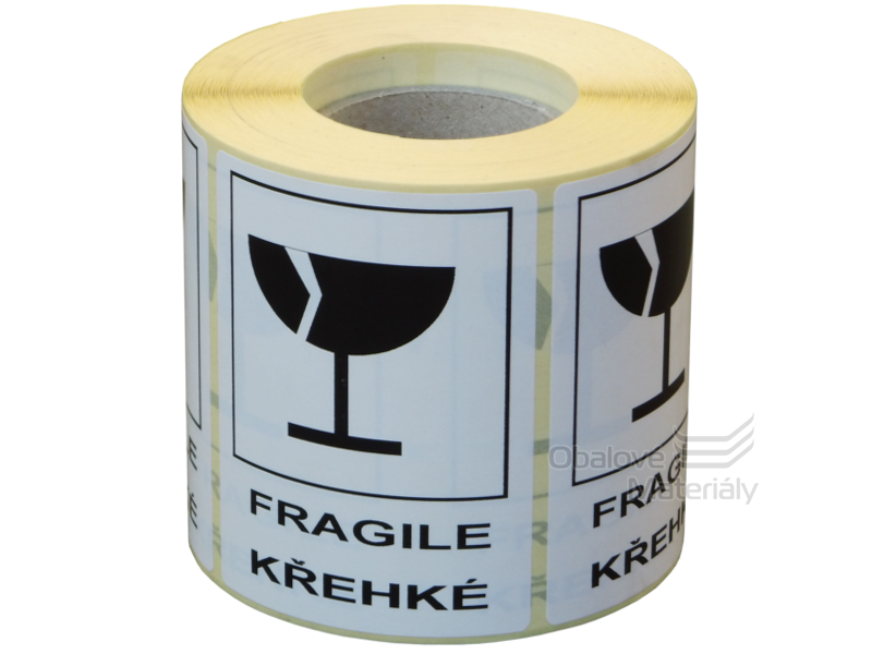 Samolepící etikety KŘEHKÉ 80*60 mm, role 500 etiket