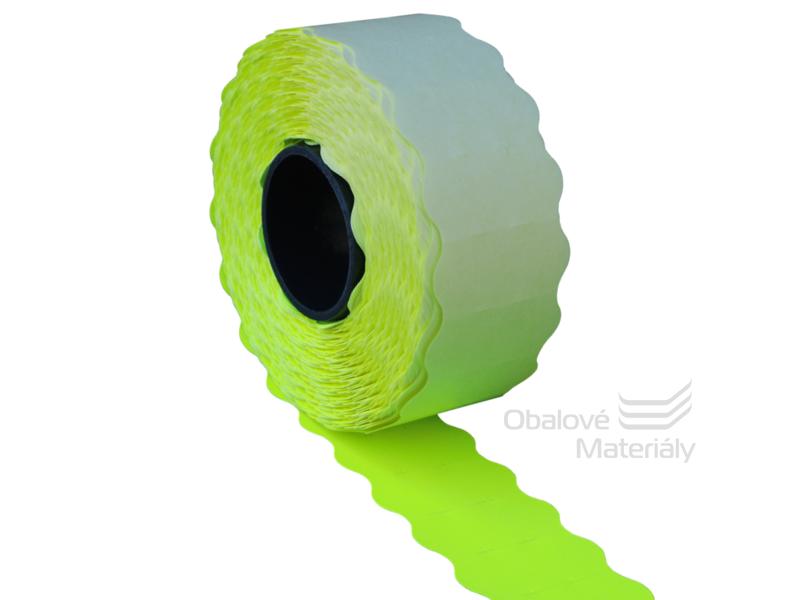 Cenové etikety REFLEXNÍ ŽLUTÉ pro jednořádkové kleště 10 míst 26*12 mm