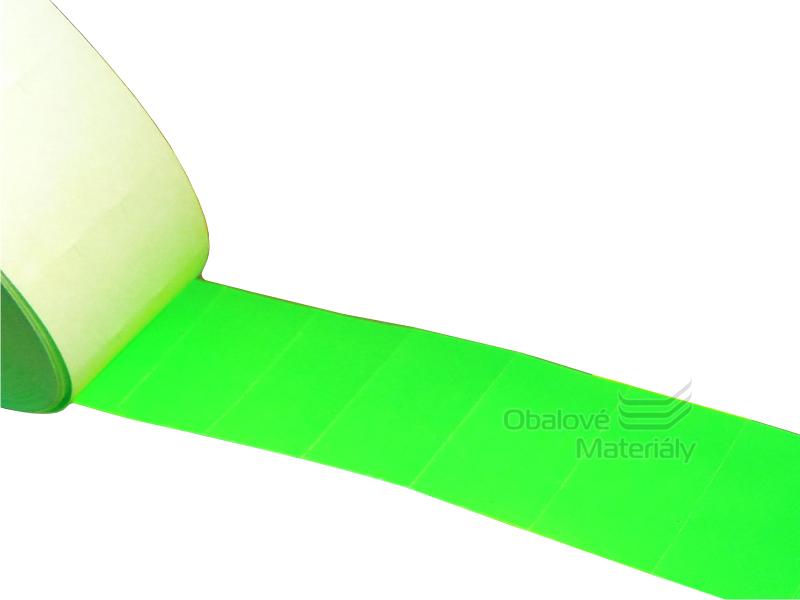 Cenové etikety REFLEXNÍ ZELENÉ pro dvouřádkové kleště 10/10 míst 25*16 mm