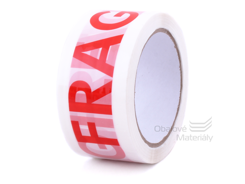 Lepící páska s potiskem FRAGILE bílá