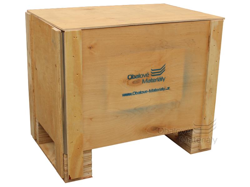 Dřevěný box S2 - 608*408*512mm, skládací bedna s ližinou, překližka