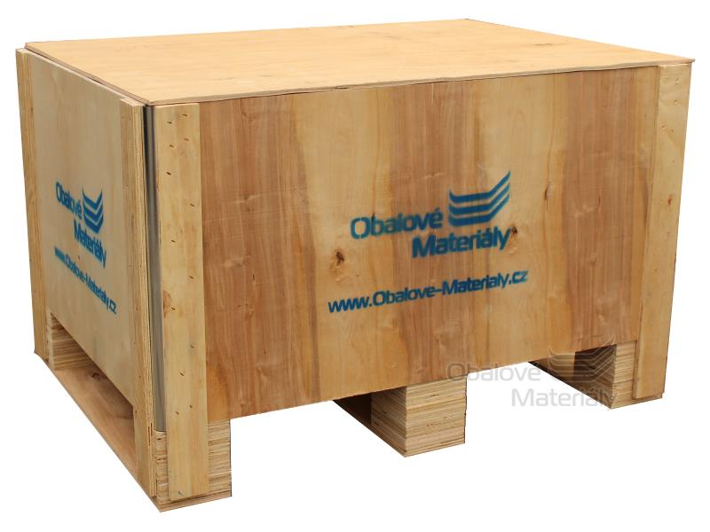 Dřevěný box S3 - 808*608*512mm, skládací bedna s ližinou, překližka