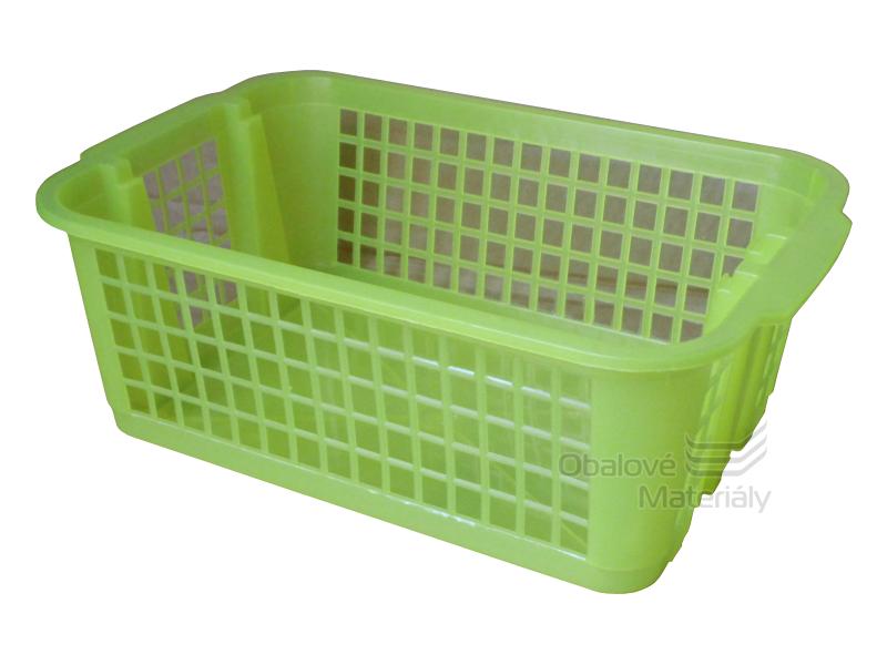 Plastový košík děrovaný, stohovatelný, 300*200*105 mm, žlutý