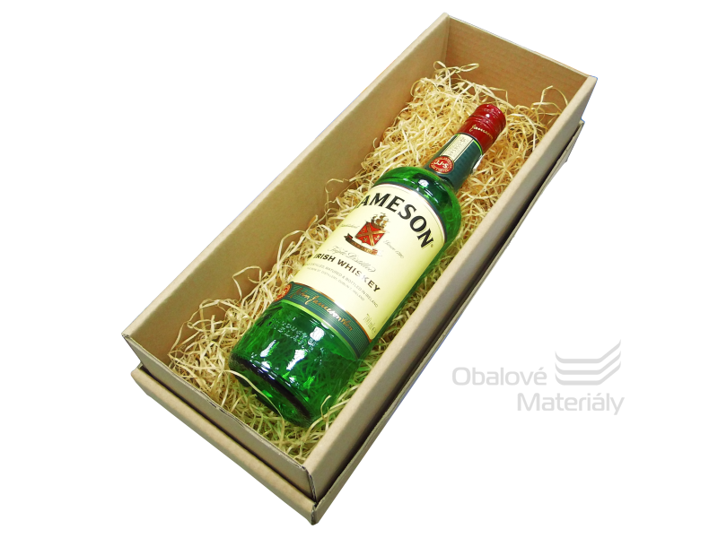 Sada krabice na víno s víkem 12*10*37,5 cm a dřevité vlny