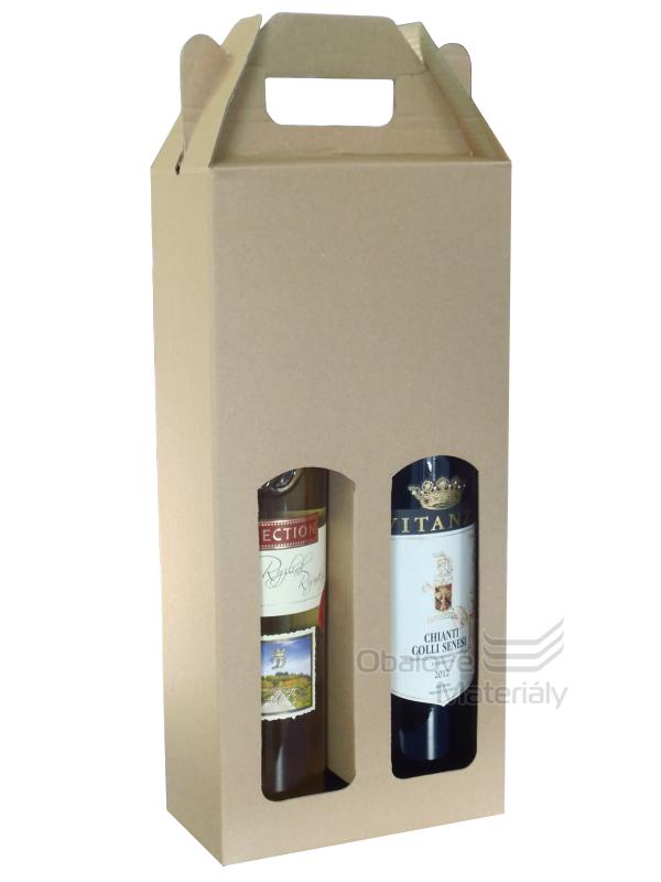 Krabice na víno 16,5*8*34,5 cm, 2 láhve 0,75 l, s okénkem