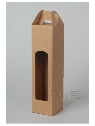 Krabice na víno 8*8*34,5 cm, hnědá, na 1 láhev 0,75 l