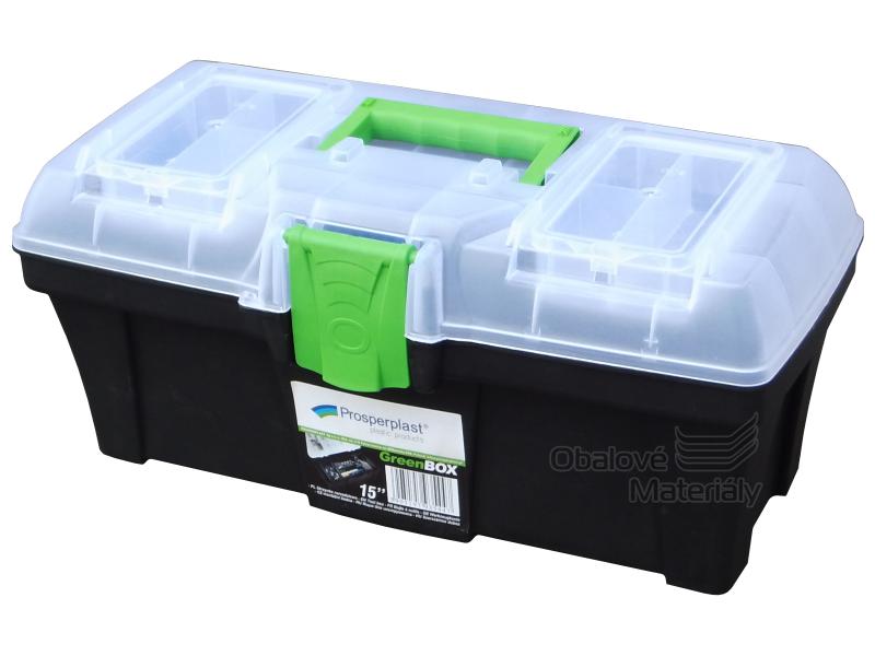 """Plastový kufr na nářadí 15"""" - GREEN BOX"""