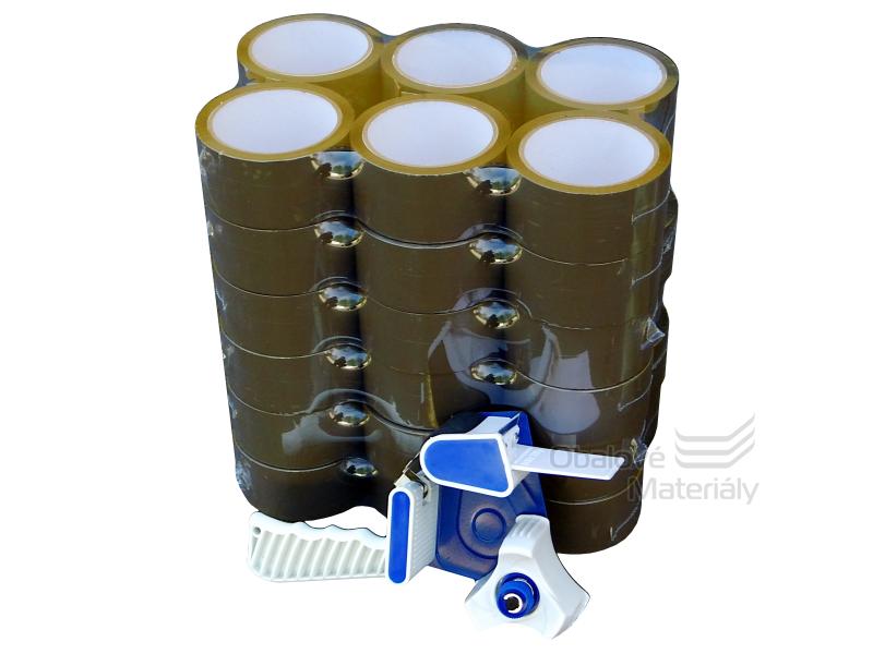 Balící lepící pásky 48 mm*66 m hnědé, balení 36 ks, odvíječ lepící pásky