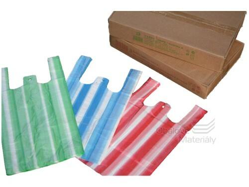 Taška 25+12*45 cm, balení 100 ks, dvoubarevné, pruhované