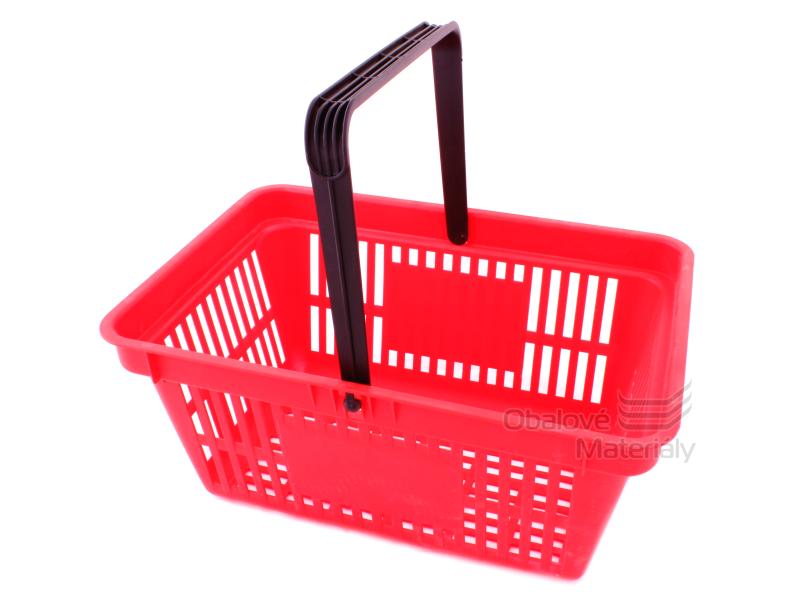 Plastový košík s 1 držadlem a plochou pro potisk, 305*445*205 mm