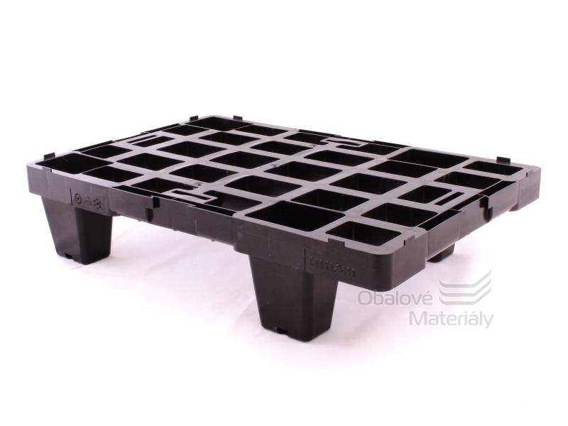 Paleta plastová stohovatelná malá, 600*400*140 mm, černá