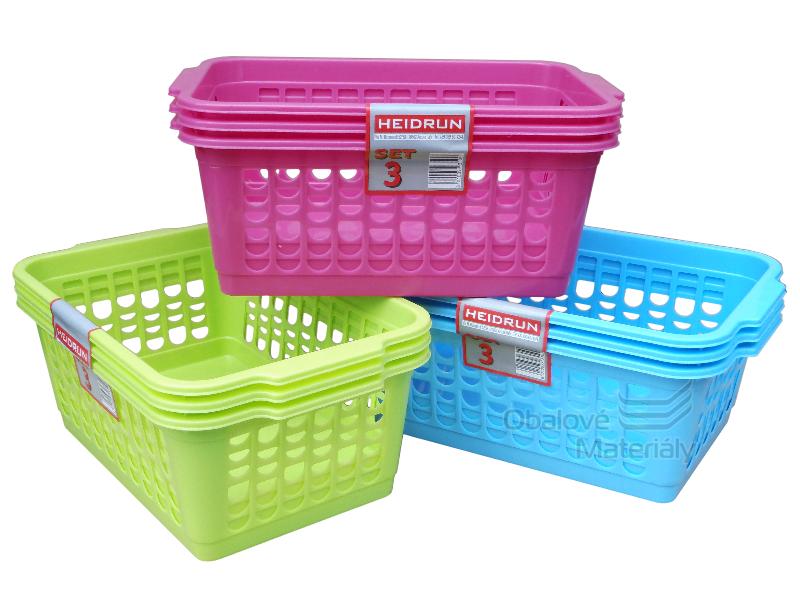Plastový košík set 3 ks, 300*200*110 mm, různé barvy