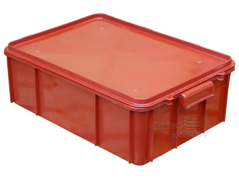 Plastová přepravka na maso T25 s víkem, 600*400*170mm