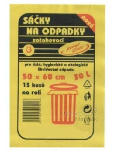 Odpadkové pytle 30l, 50*60cm zatahovací žluté 15 ks