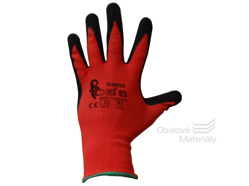 Rukavice pracovní ALVAROS, máčené prsty a dlaň