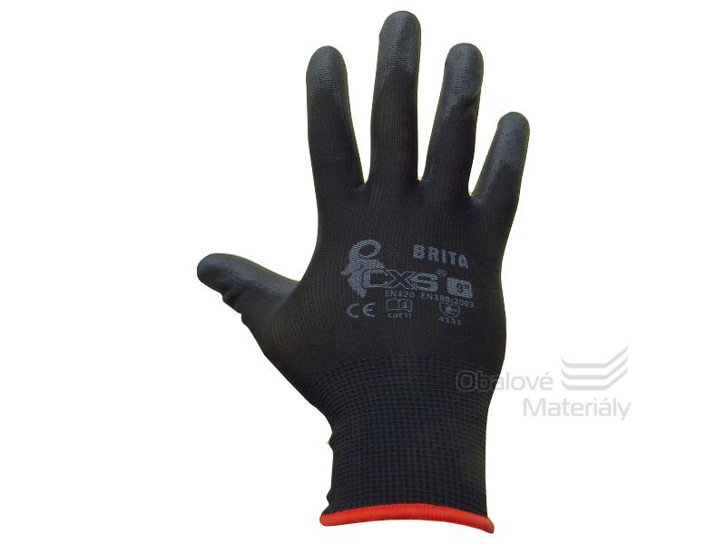 Rukavice BRITA BLACK - máčené prsty a dlaň