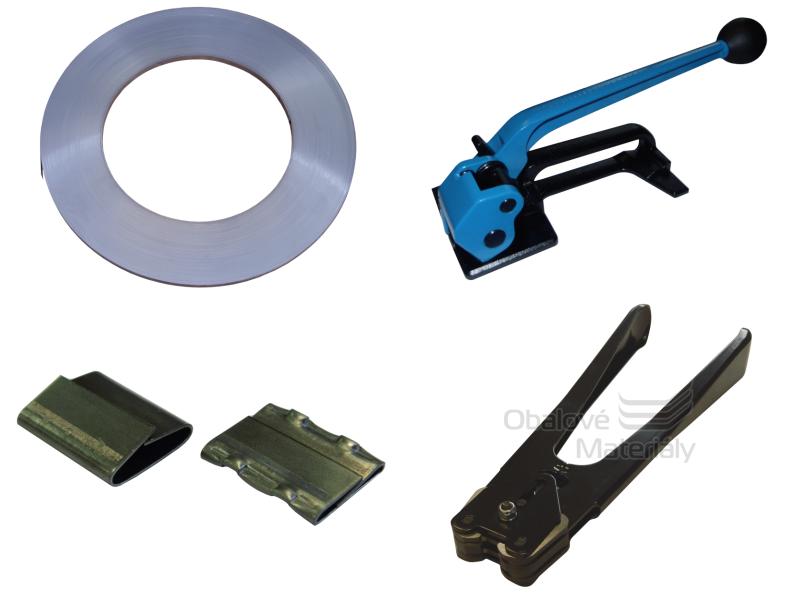 Sada ocelové vázací pásky, spon, napínače a páskovacích kleští šíře 16 mm