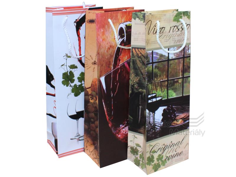 Dárková taška na víno, 12,5*8*36 cm, různý motiv