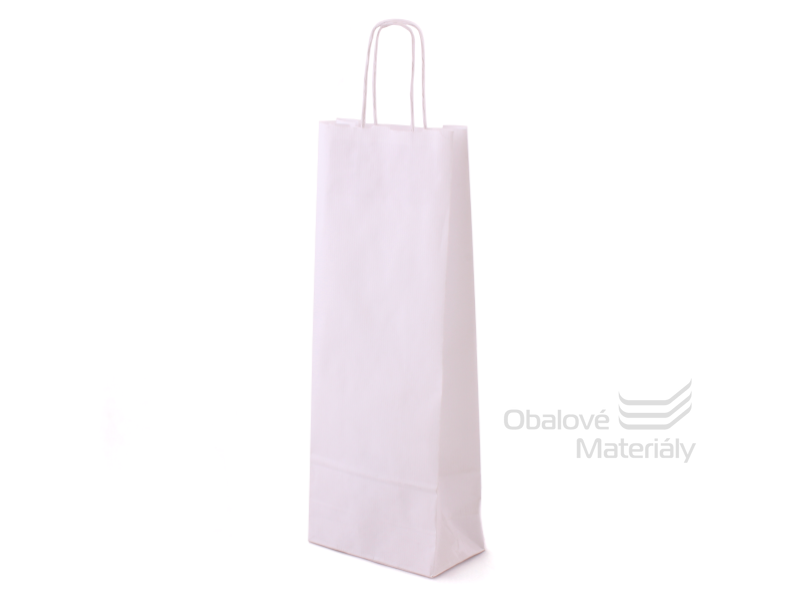 Papírová taška na láhev, víno, 15*8*40 cm, bílá