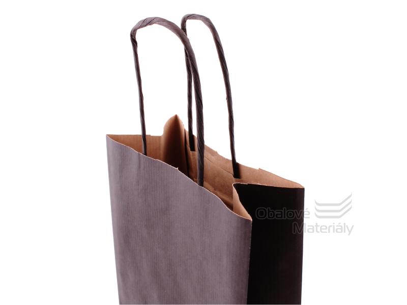 Papírová taška na láhev, víno, 15*8*40 cm, černá