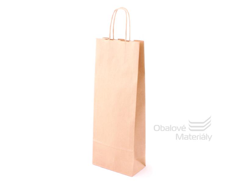Papírová taška na láhev, víno, 15*8*40 cm, hnědá