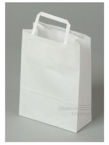 Taška 18*8*25 cm, bílý kraftový papír 80 g