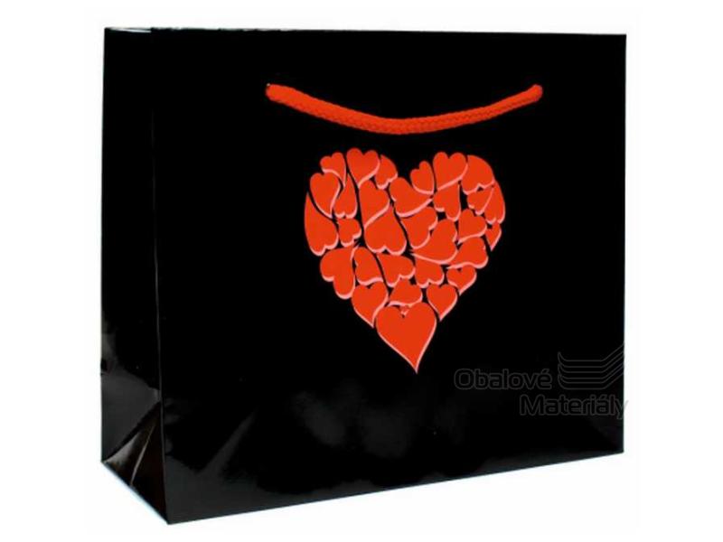 Papírová dárková taška s motivem srdce, 21*8*18 cm