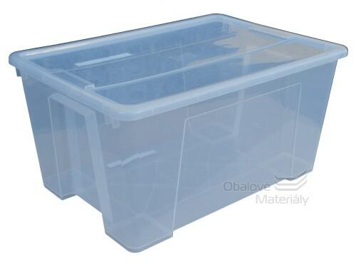 Úložný box s víkem, transparentní, 560*390*280mm, 45l