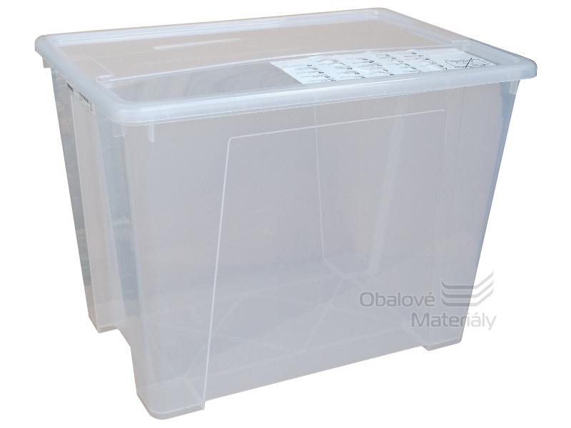 Úložný box s víkem, transparentní, 570*390*420mm, 65l