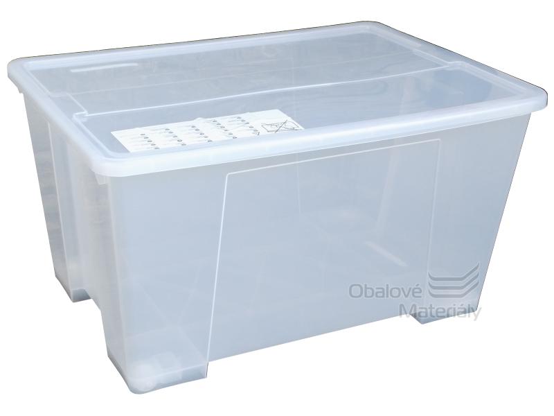 Úložný box s víkem a kolečky, transparentní, 780*560*440mm, 130l