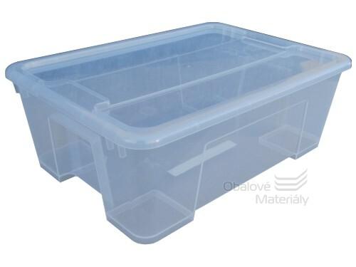Úložný box s víkem, transparentní, 390*280*280mm, 22l