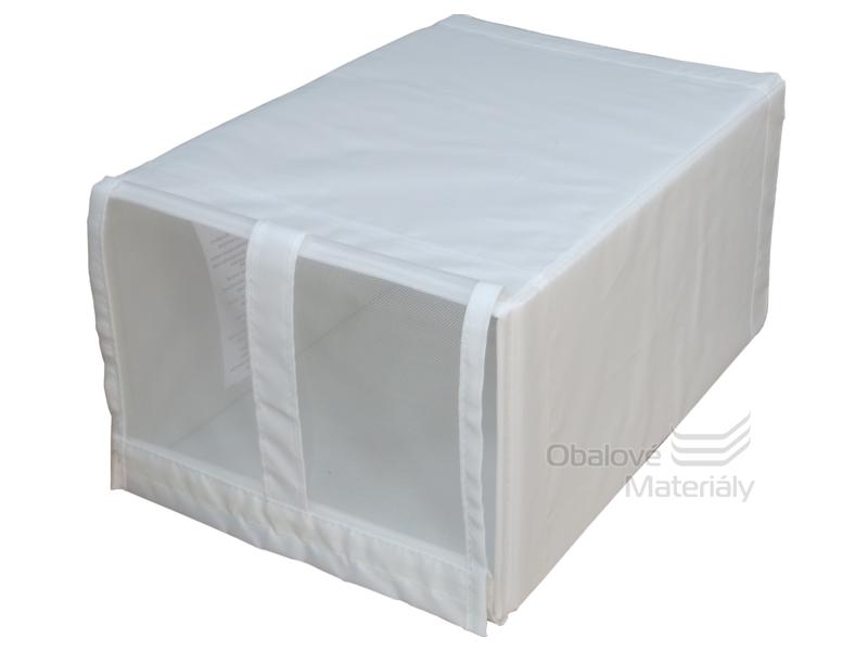 Úložný box na boty - látkový s oknem, 220*340*160 mm, bílý, 12 l