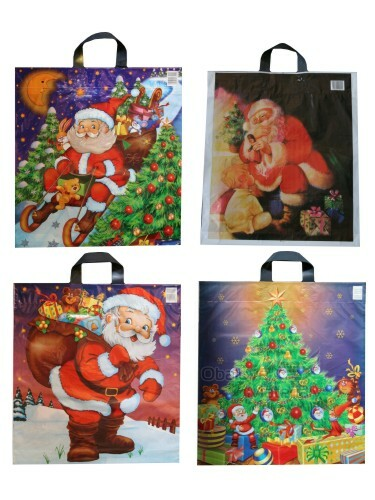 Vánoční taška LDPE 43*46+5 cm s uchem, vánoční motivy, cena za 1 kus