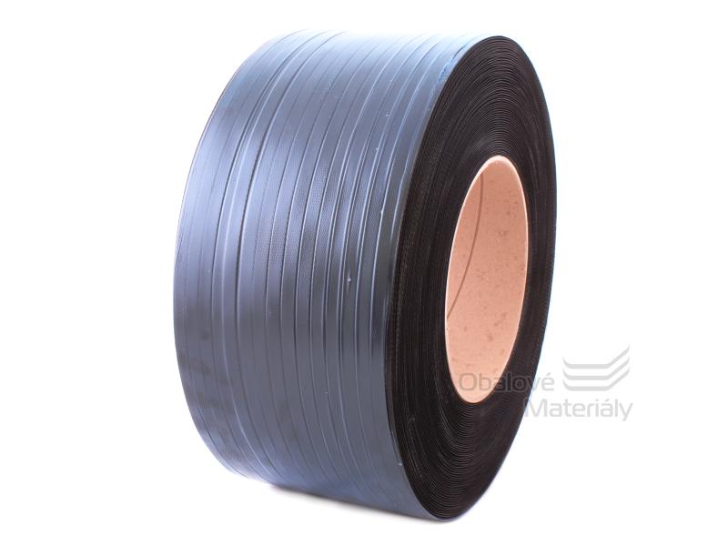 Vázací páska PP 12*0,5 mm, dutinka 200 mm, černá, 3100 m