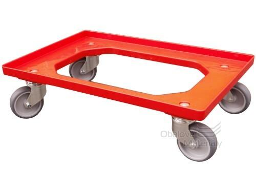 Vozík pod přepravky 600*400 mm, 2 otočná a 2 pevná kolečka