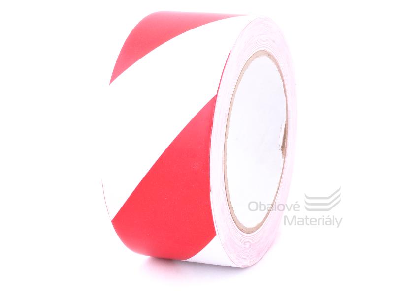 PVC výstražná lepící páska 50 mm*33 m, červenobílá