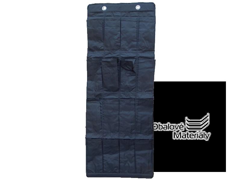 Závěsný box na boty, látkový - 16 kapes, 550*7*150 mm, černý